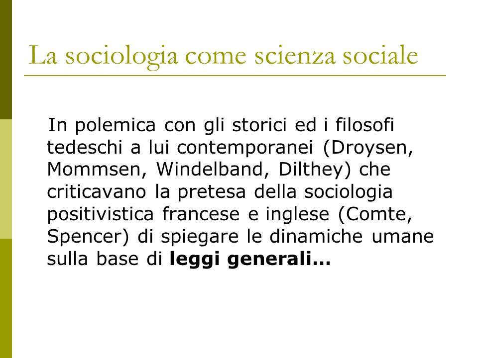 La sociologia come scienza sociale