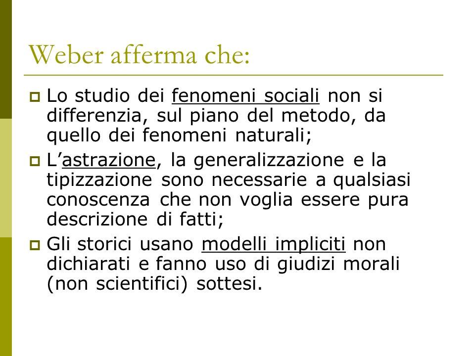 Weber afferma che: Lo studio dei fenomeni sociali non si differenzia, sul piano del metodo, da quello dei fenomeni naturali;