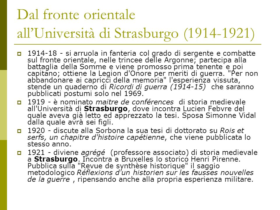 Dal fronte orientale all'Università di Strasburgo (1914-1921)