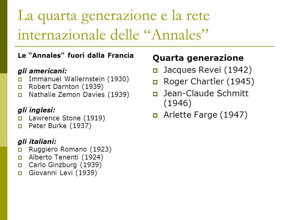 La quarta generazione e la rete internazionale delle Annales