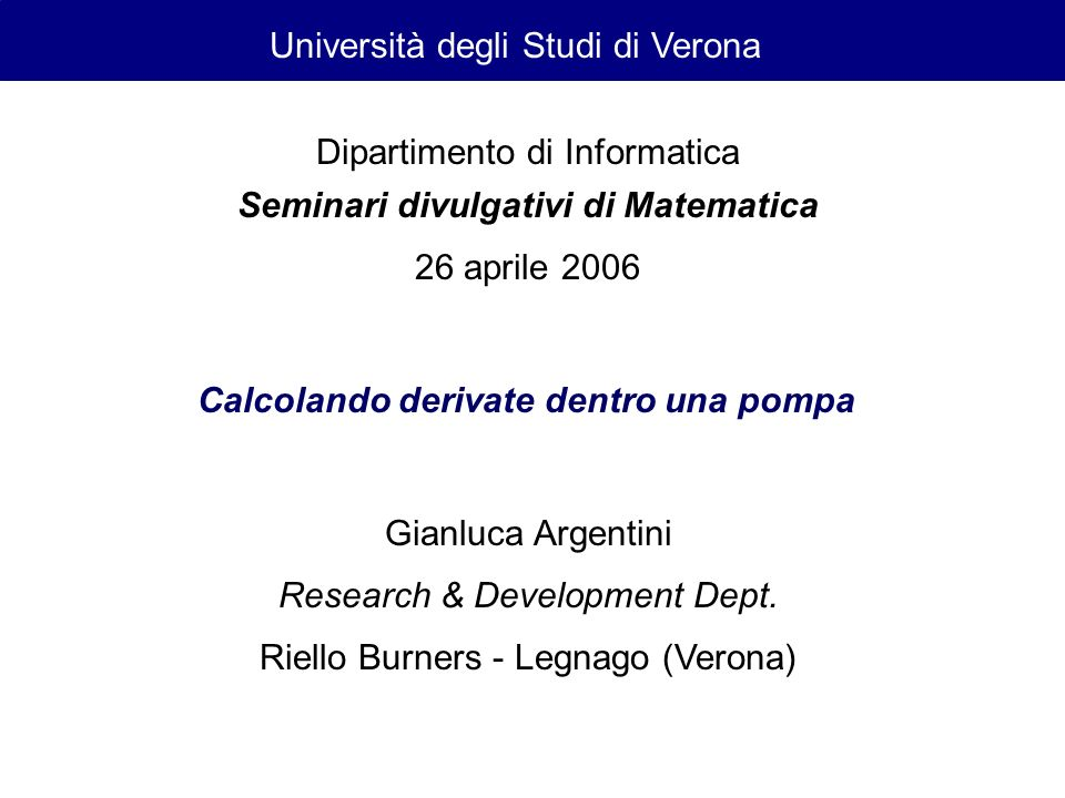 Seminari divulgativi di Matematica