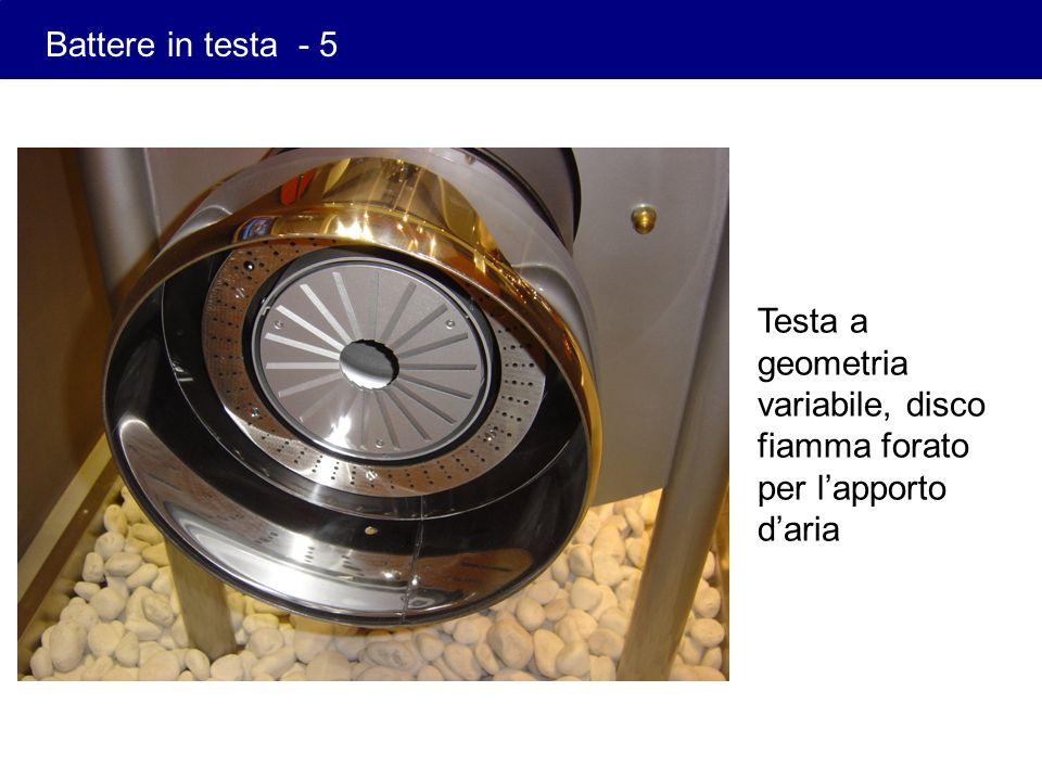 Battere in testa - 5 Testa a geometria variabile, disco fiamma forato per l'apporto d'aria