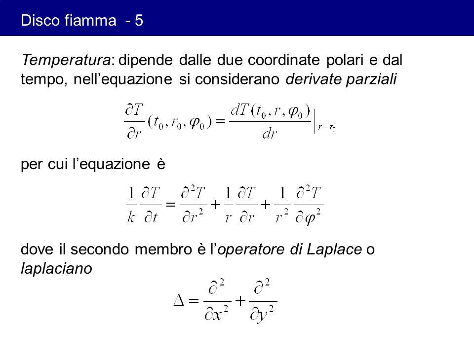 Disco fiamma - 5 Temperatura: dipende dalle due coordinate polari e dal tempo, nell'equazione si considerano derivate parziali.