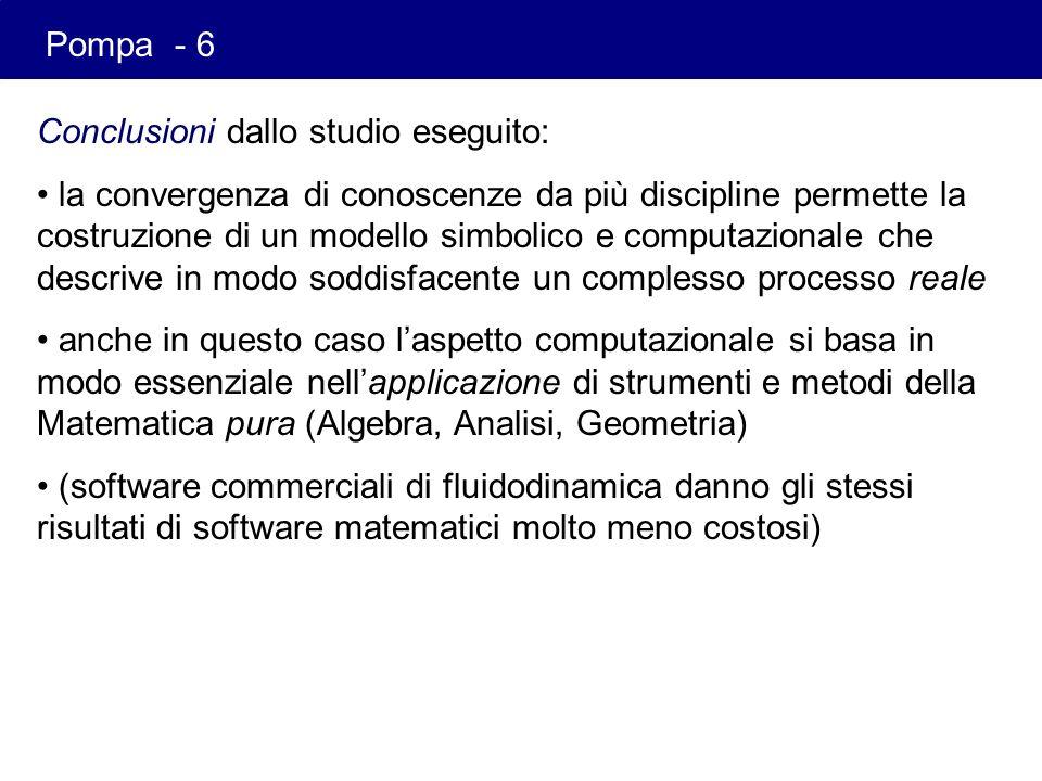 Pompa - 6 Conclusioni dallo studio eseguito: