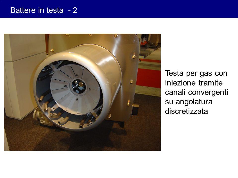 Battere in testa - 2 Testa per gas con iniezione tramite canali convergenti su angolatura discretizzata.