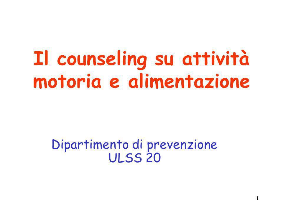 Il counseling su attività motoria e alimentazione