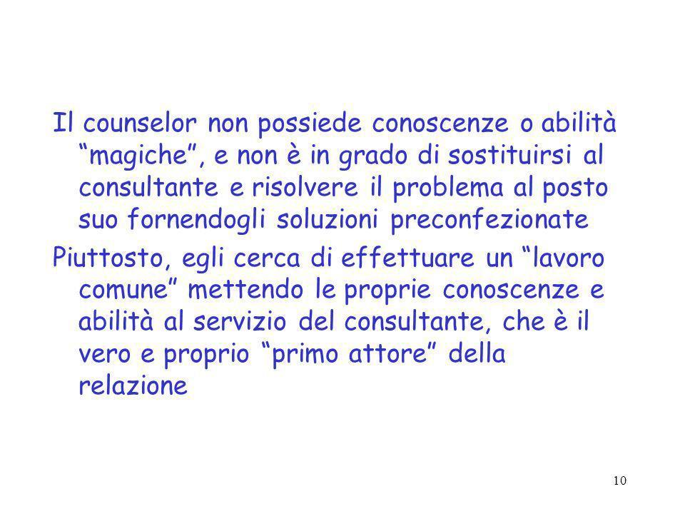 Il counselor non possiede conoscenze o abilità magiche , e non è in grado di sostituirsi al consultante e risolvere il problema al posto suo fornendogli soluzioni preconfezionate