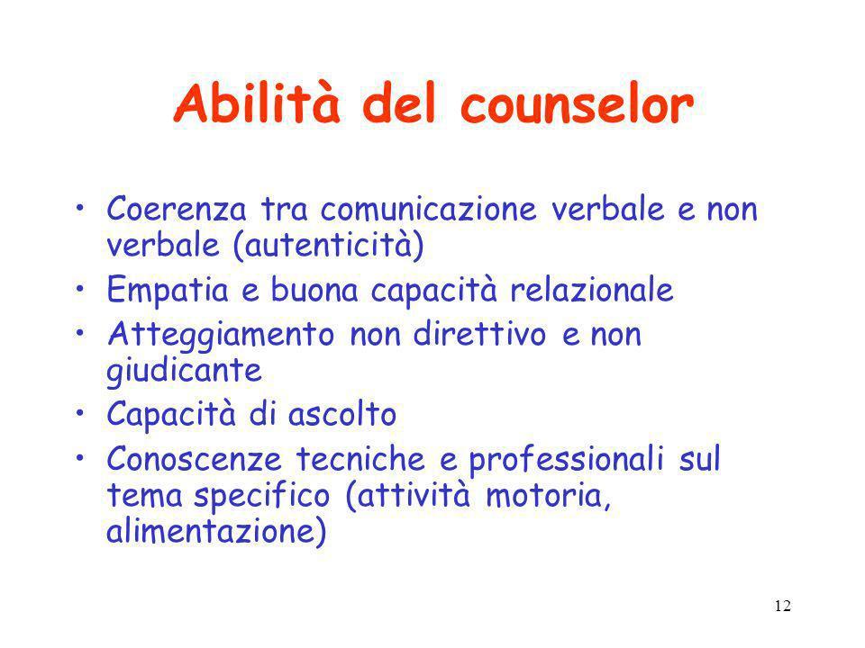 Abilità del counselor Coerenza tra comunicazione verbale e non verbale (autenticità) Empatia e buona capacità relazionale.