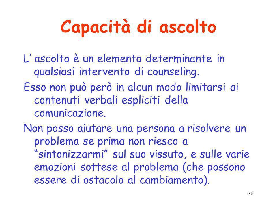 Capacità di ascolto L' ascolto è un elemento determinante in qualsiasi intervento di counseling.