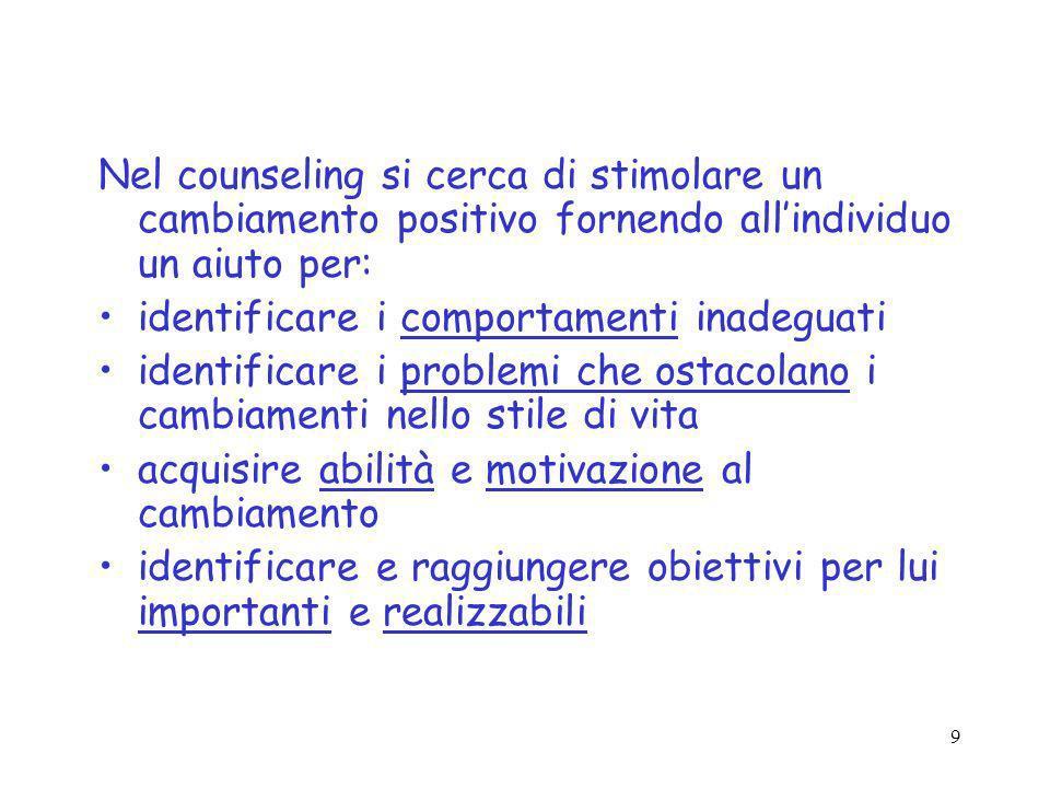 Nel counseling si cerca di stimolare un cambiamento positivo fornendo all'individuo un aiuto per:
