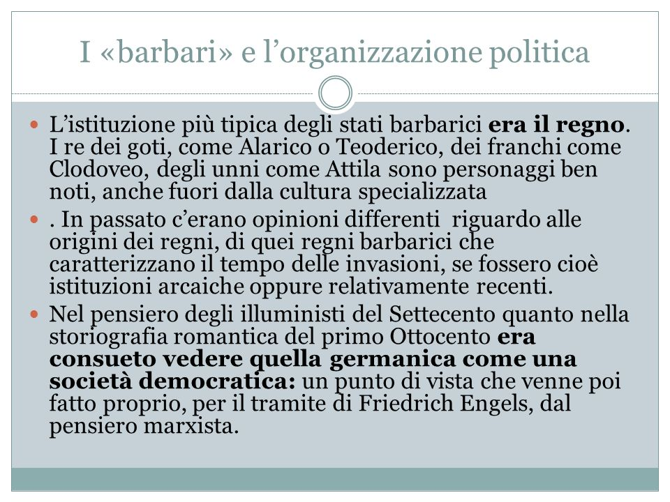 I «barbari» e l'organizzazione politica
