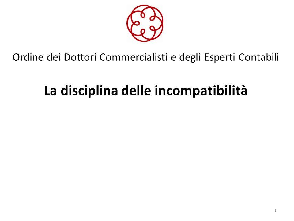 Ordine dei Dottori Commercialisti e degli Esperti Contabili La disciplina delle incompatibilità