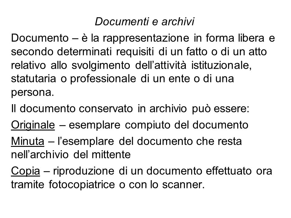 Documenti e archivi