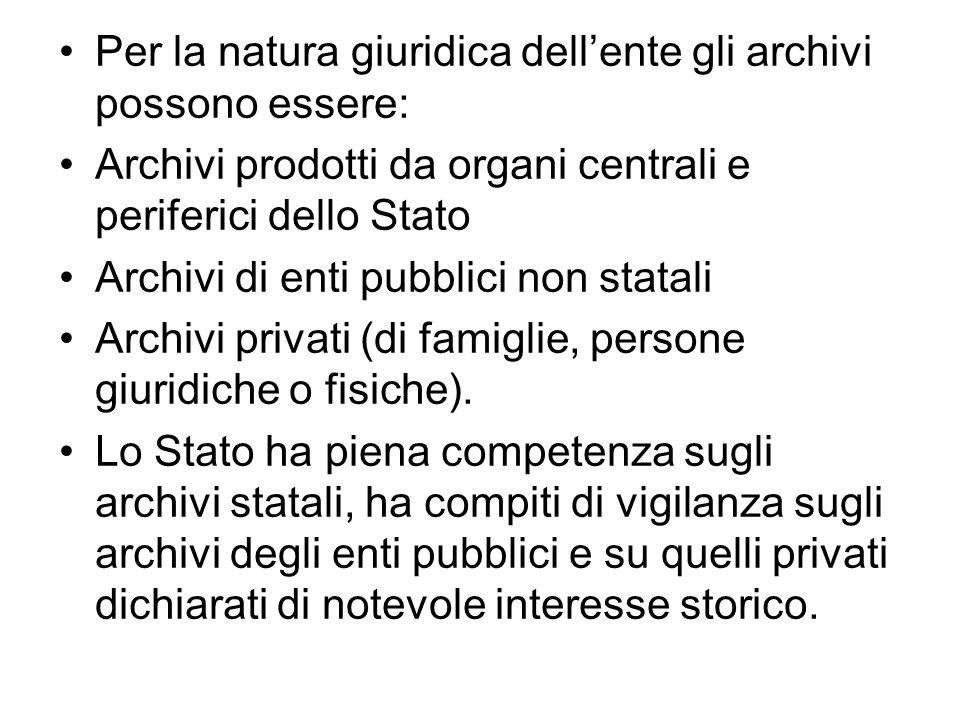 Per la natura giuridica dell'ente gli archivi possono essere: