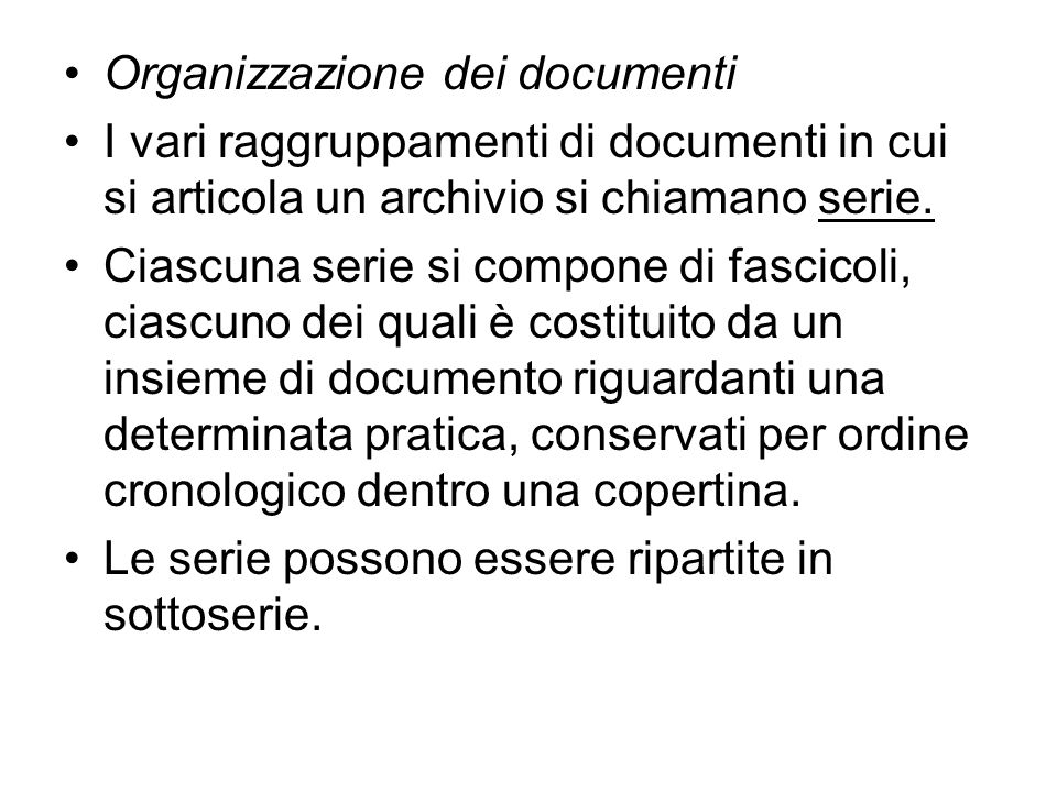 Organizzazione dei documenti