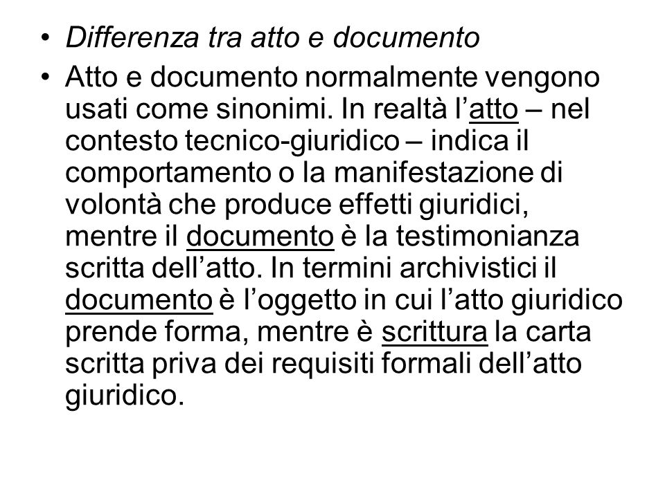 Differenza tra atto e documento
