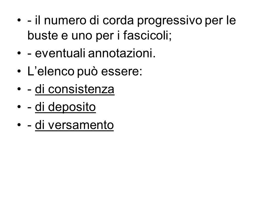 - il numero di corda progressivo per le buste e uno per i fascicoli;