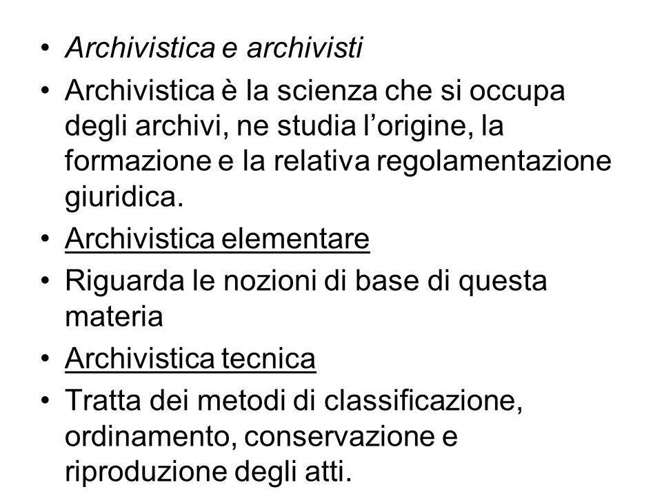 Archivistica e archivisti
