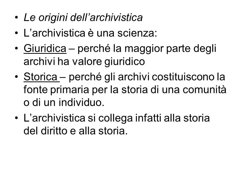 Le origini dell'archivistica