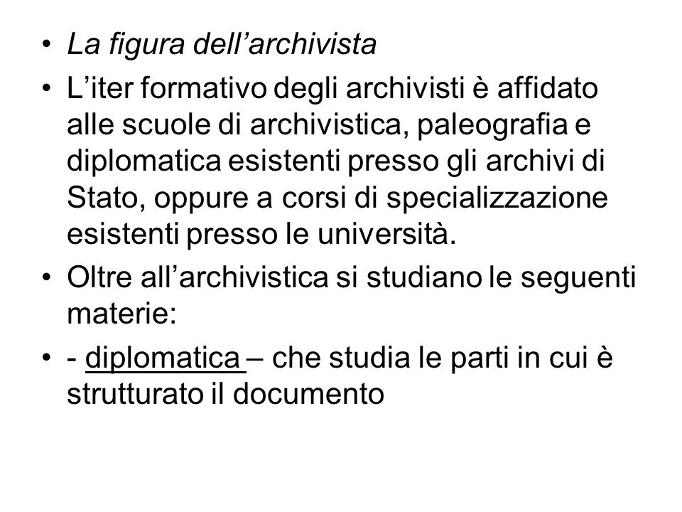 La figura dell'archivista