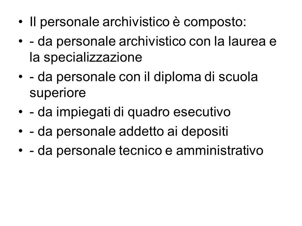 Il personale archivistico è composto: