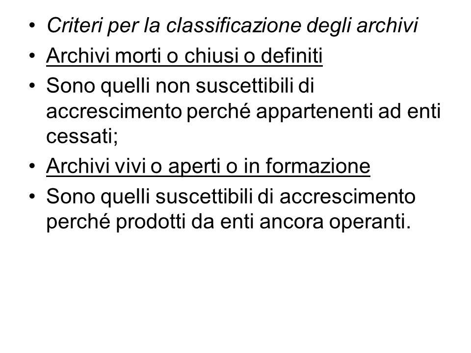 Criteri per la classificazione degli archivi
