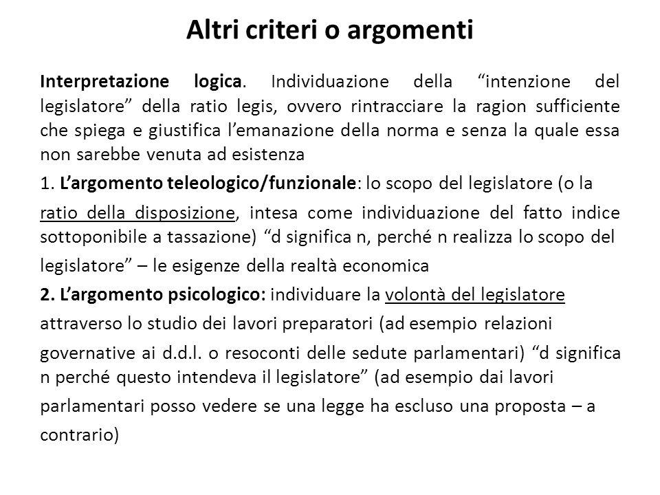 Altri criteri o argomenti