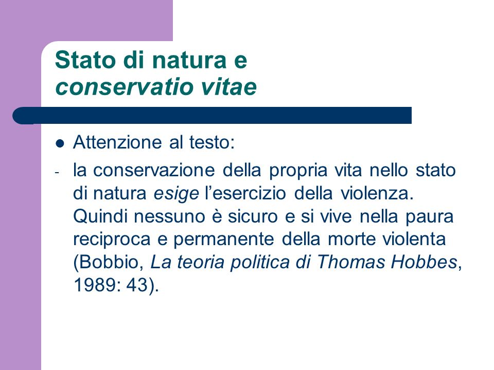 Stato di natura e conservatio vitae