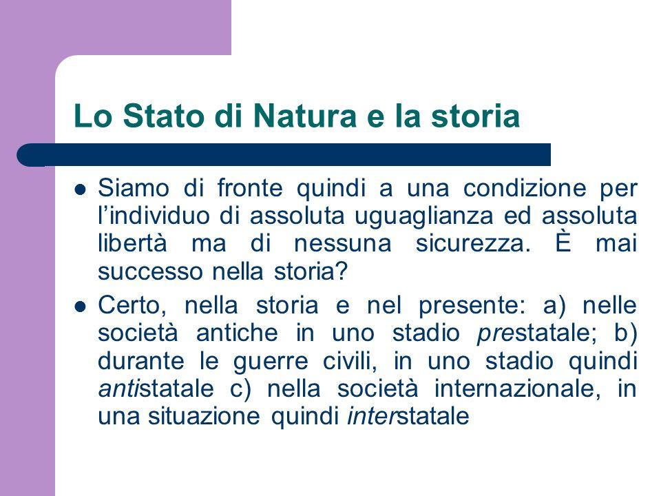 Lo Stato di Natura e la storia