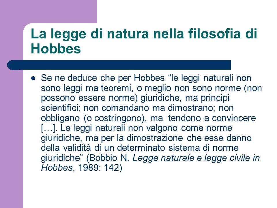 La legge di natura nella filosofia di Hobbes
