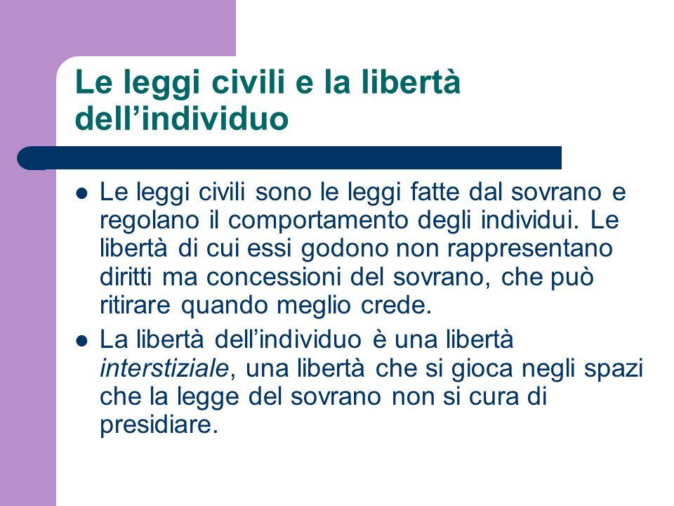 Le leggi civili e la libertà dell'individuo
