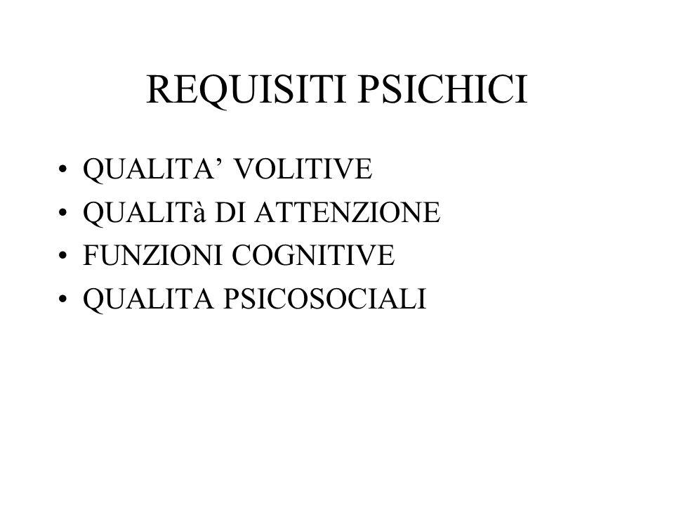 REQUISITI PSICHICI QUALITA' VOLITIVE QUALITà DI ATTENZIONE