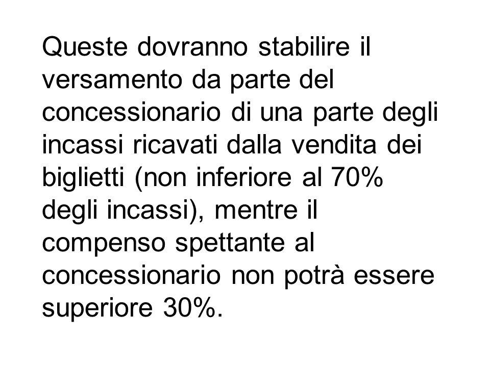 Queste dovranno stabilire il versamento da parte del concessionario di una parte degli incassi ricavati dalla vendita dei biglietti (non inferiore al 70% degli incassi), mentre il compenso spettante al concessionario non potrà essere superiore 30%.