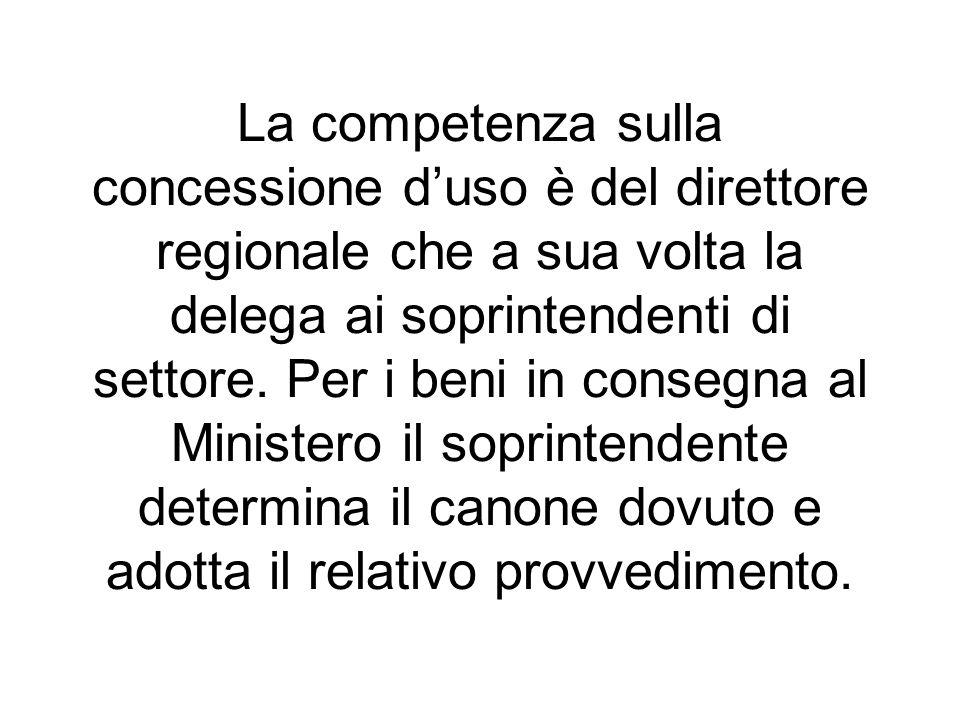 La competenza sulla concessione d'uso è del direttore regionale che a sua volta la delega ai soprintendenti di settore.