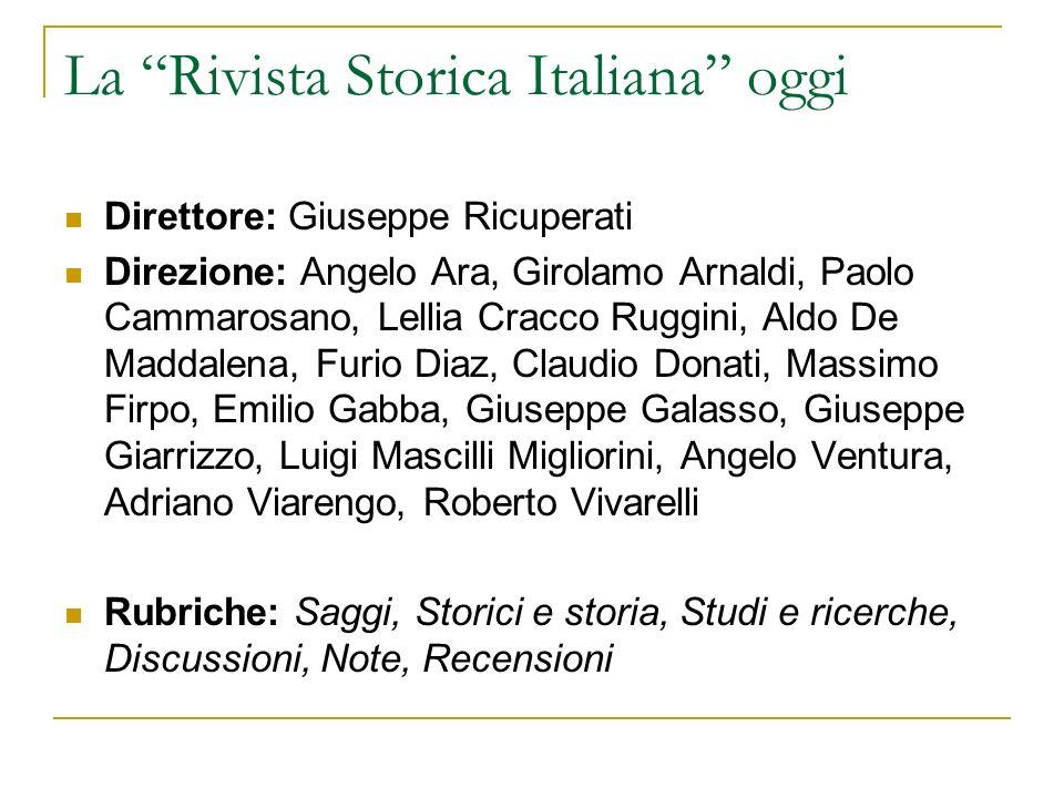La Rivista Storica Italiana oggi