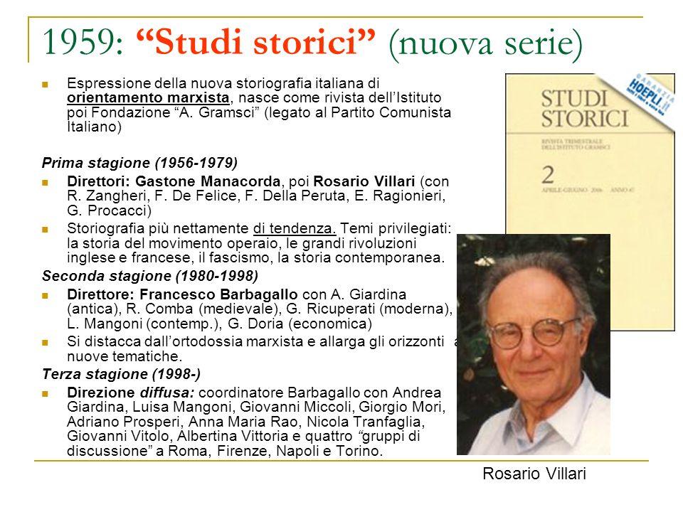 1959: Studi storici (nuova serie)