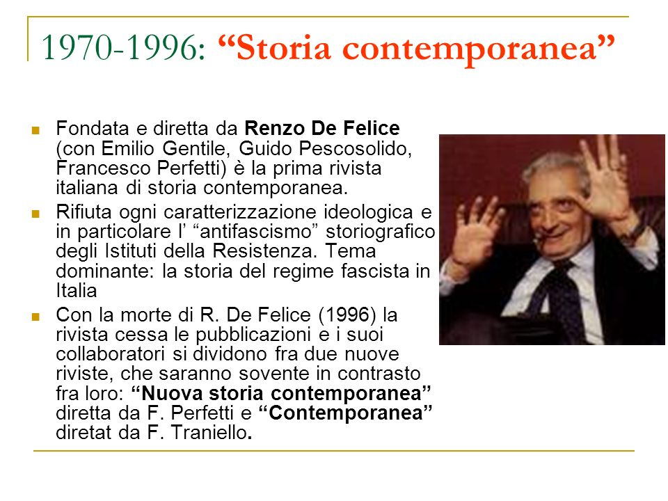 1970-1996: Storia contemporanea