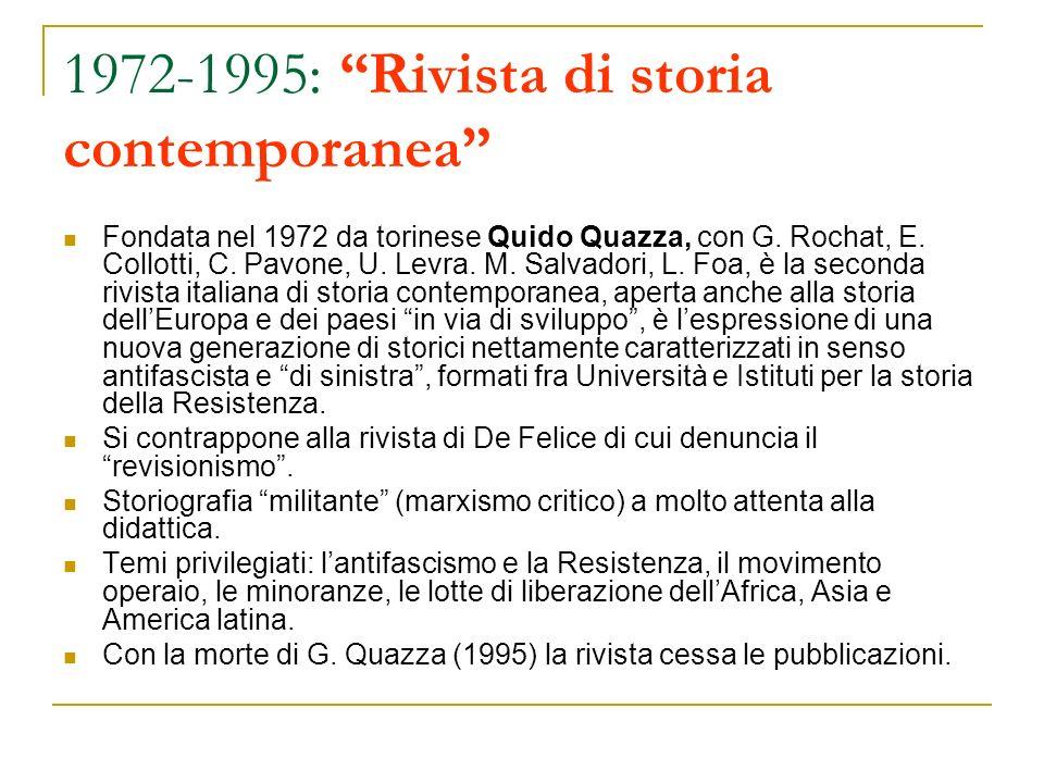 1972-1995: Rivista di storia contemporanea