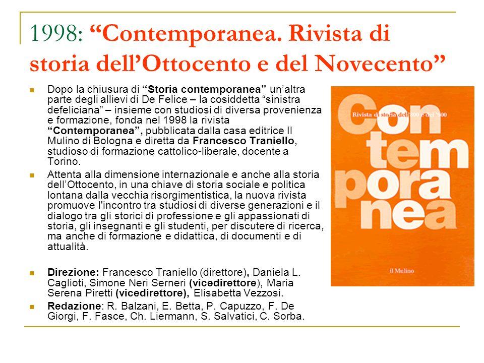 1998: Contemporanea. Rivista di storia dell'Ottocento e del Novecento
