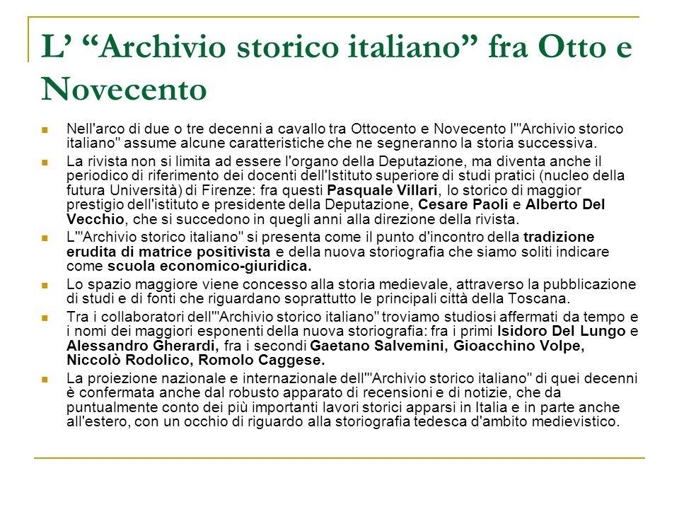 L' Archivio storico italiano fra Otto e Novecento