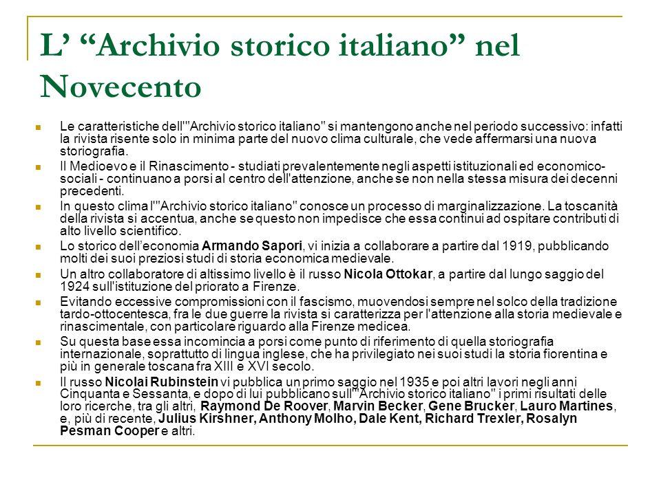 L' Archivio storico italiano nel Novecento