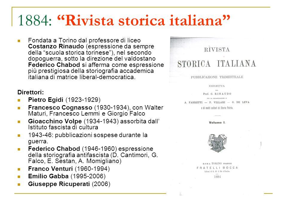 1884: Rivista storica italiana