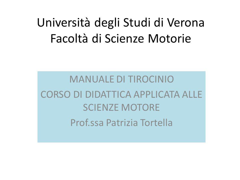 Università degli Studi di Verona Facoltà di Scienze Motorie