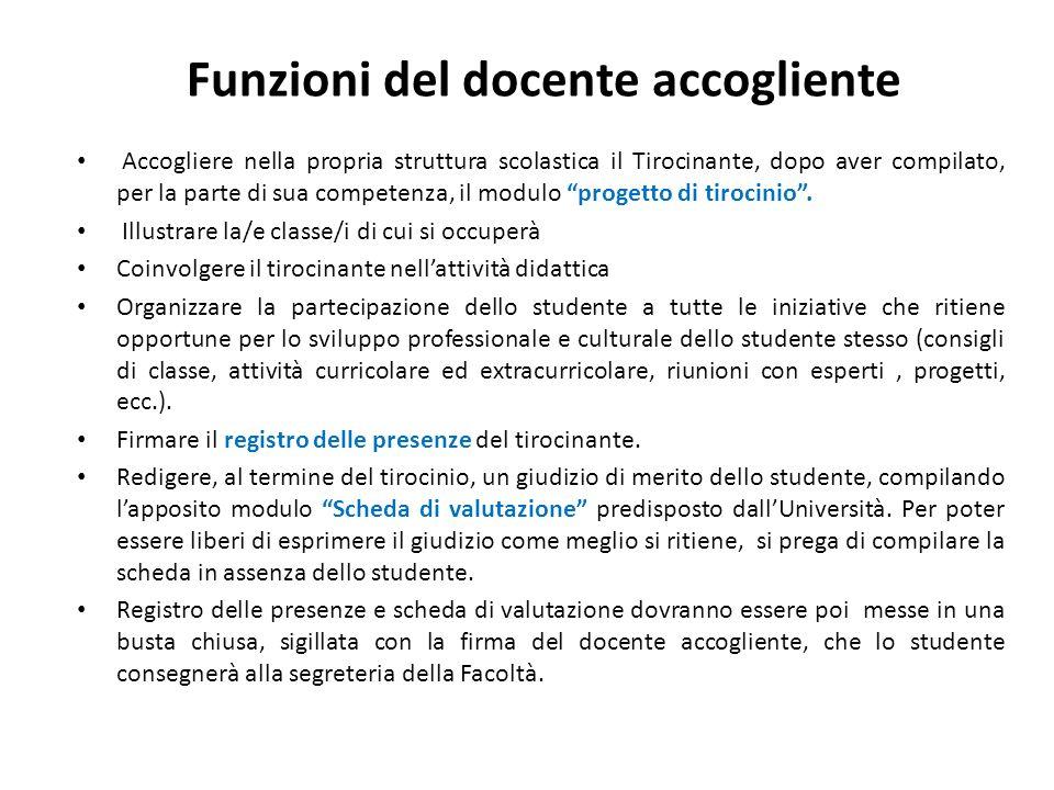 Funzioni del docente accogliente