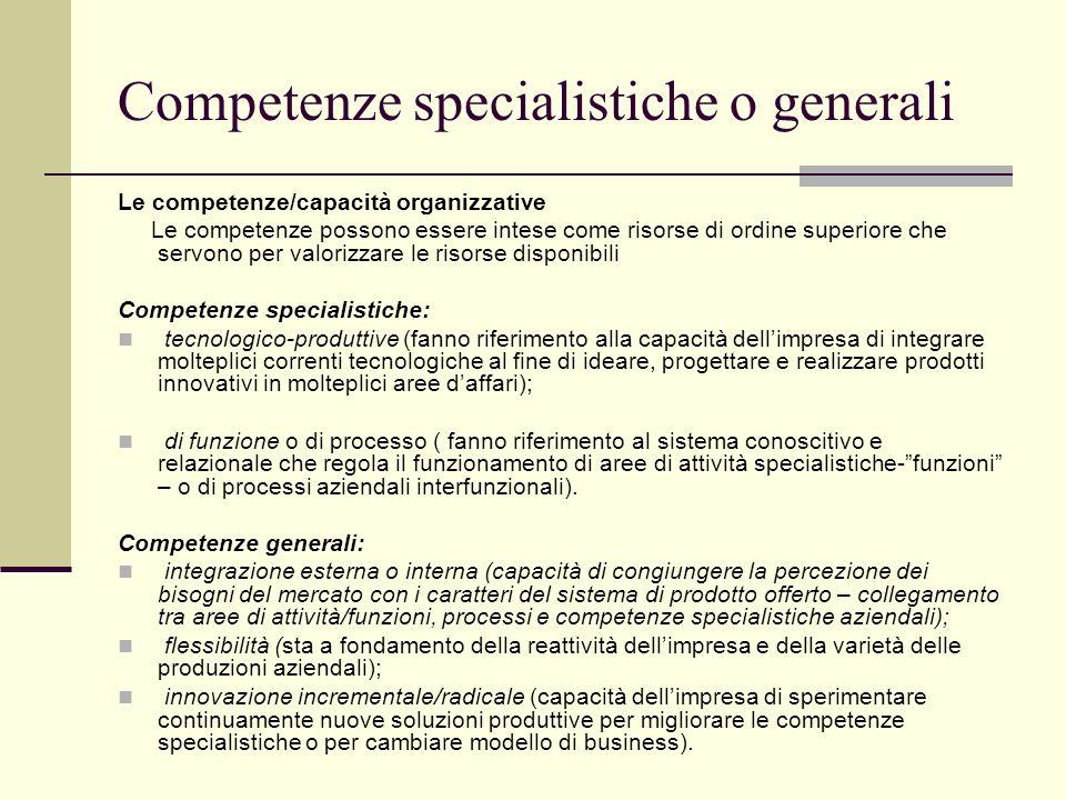 Competenze specialistiche o generali