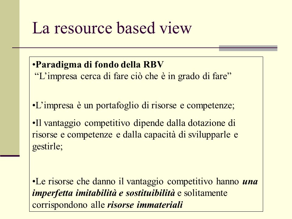 La resource based view Paradigma di fondo della RBV