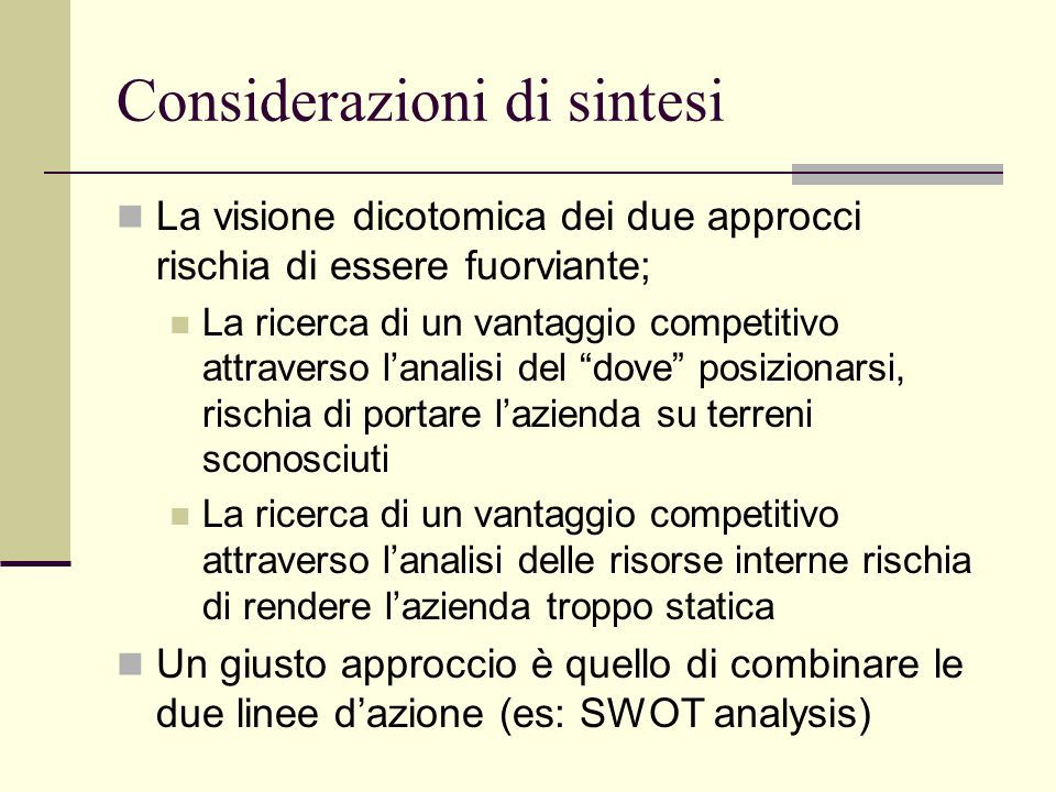 Considerazioni di sintesi