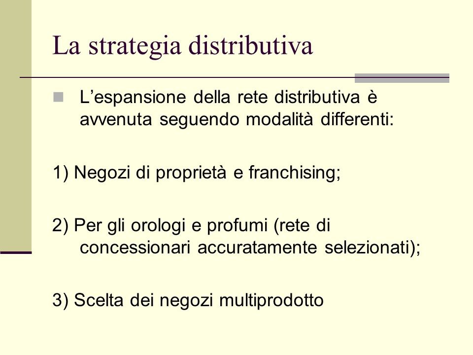 La strategia distributiva