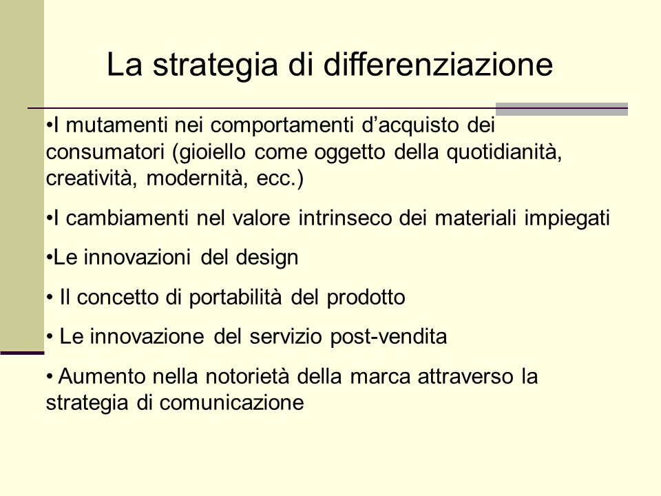 La strategia di differenziazione