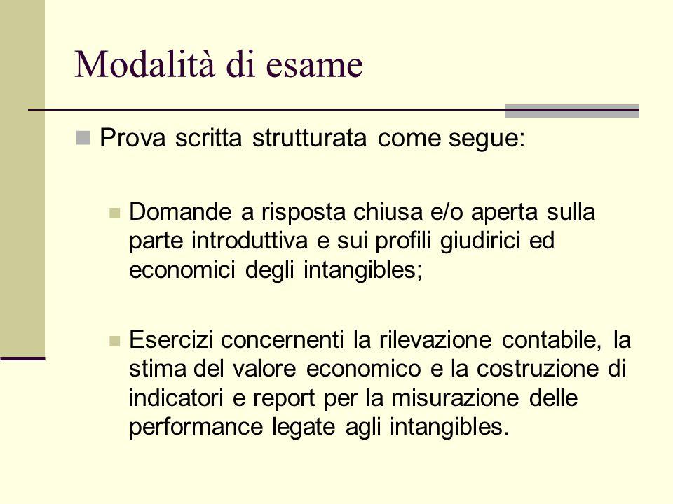 Modalità di esame Prova scritta strutturata come segue:
